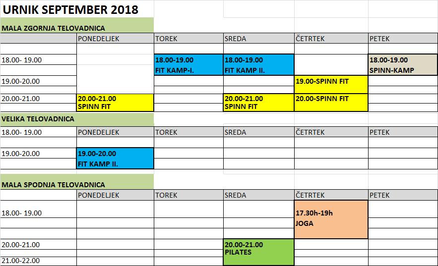 URNIK SEPTEMBER-2018